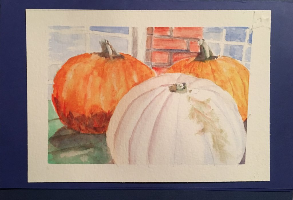 More Pumpkins… These were inspired by a display at my corner store. Watercolour 19*28 cm on Sa