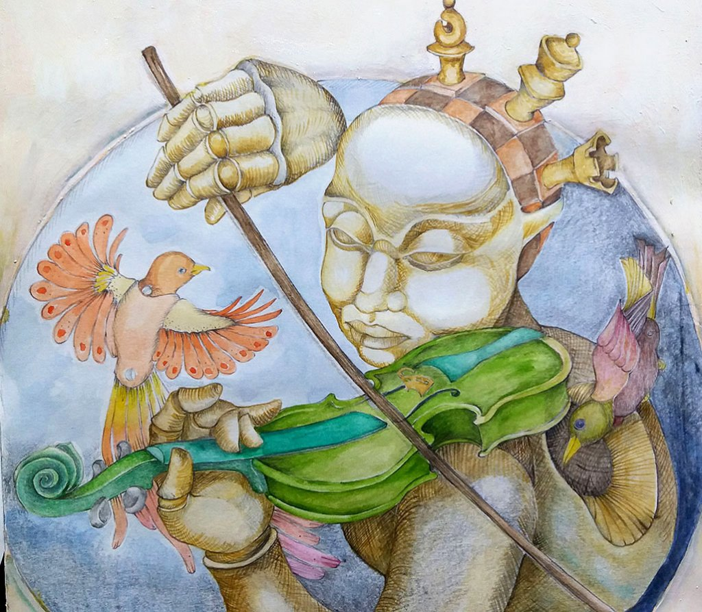 Recuerdos acuarelados Figure Playing Violin Watercolor by Silvia Elena Pastor