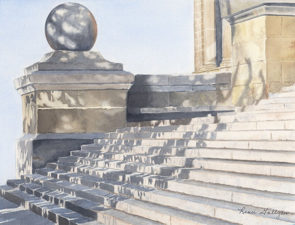 Capitol Steps Watercolor Painting by Renee Galligher