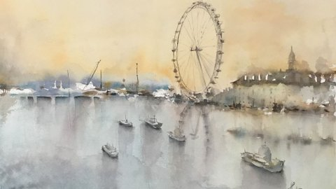 London Eye Watercolour Painting by Vidya Lalgudi Jaishankar