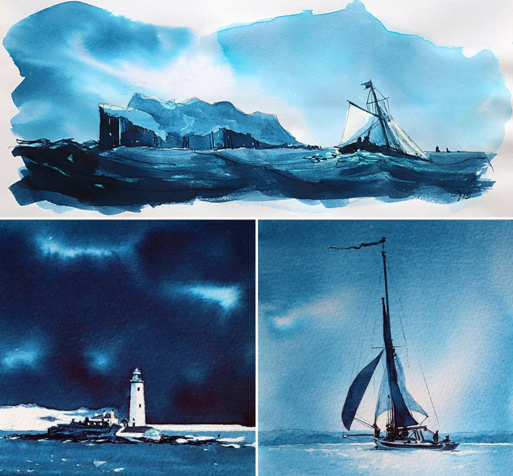 Nick Stewart Randall ink Fountain Pen Ink Art Blue Sailboats Lighthouse