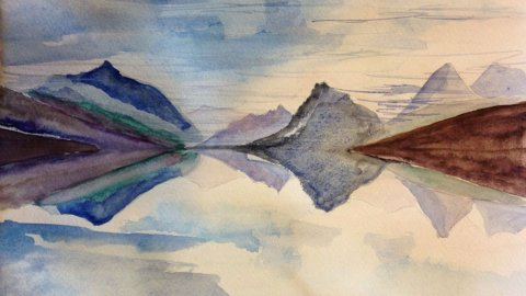 S E Bland Watercolor Moutains Painting