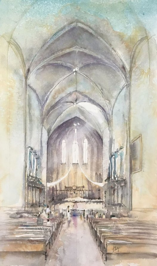 St Sauveur Cathedral Watercolour Painting