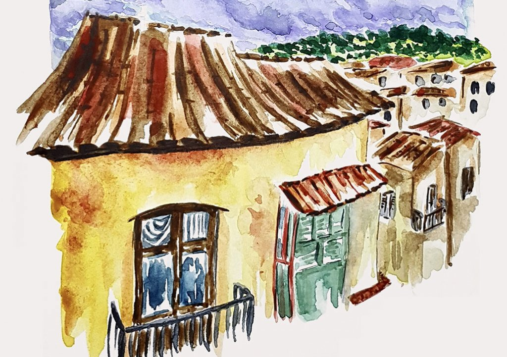 Watercolor Houses by Marsia Bramucci