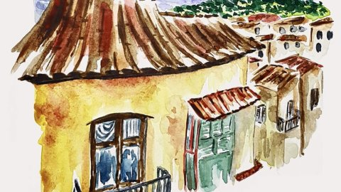 Watercolor Houses by Marsia Bramucci
