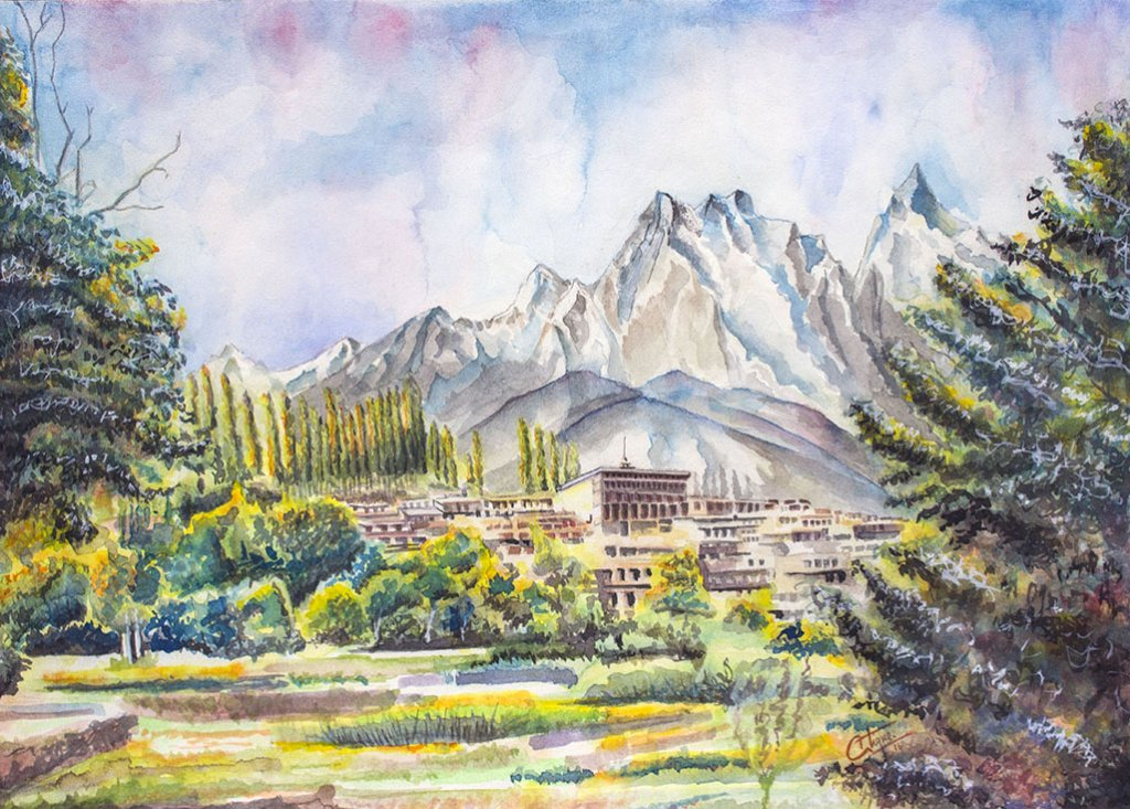 Watercolour Mountain Trees Landscape Painting by Atique Ahmed