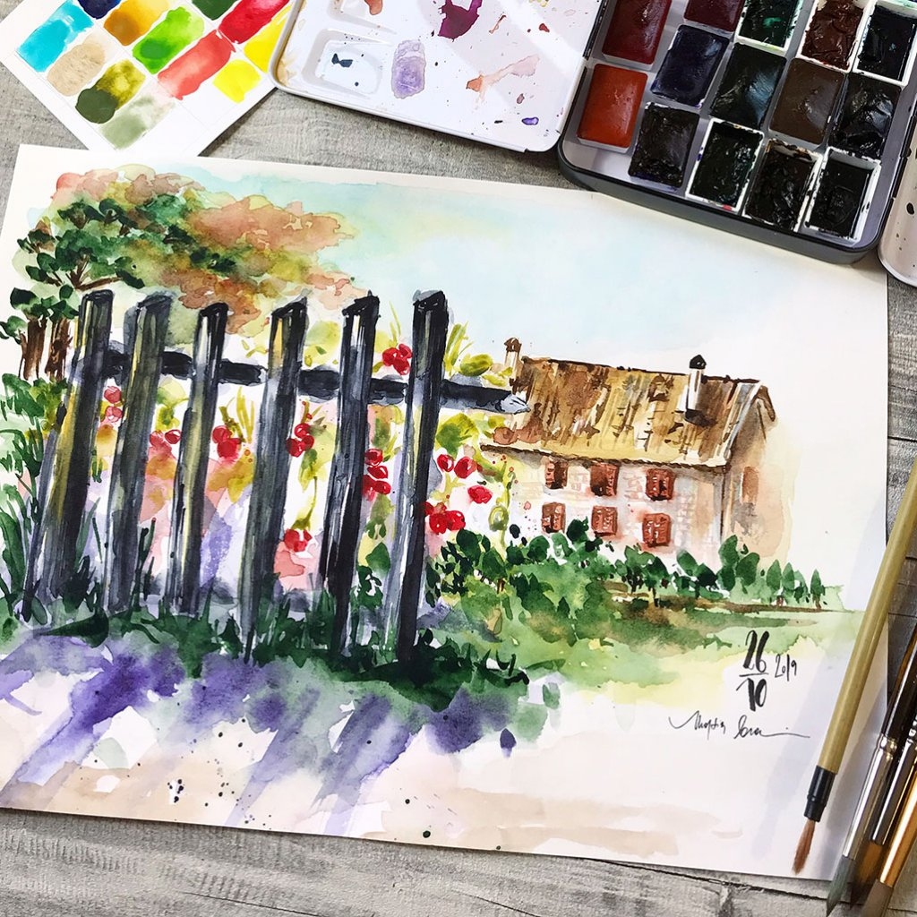 Watercolour House Painting by Marsia Bramucci