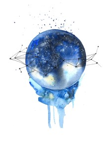abstract space watercolor DearAnnArt
