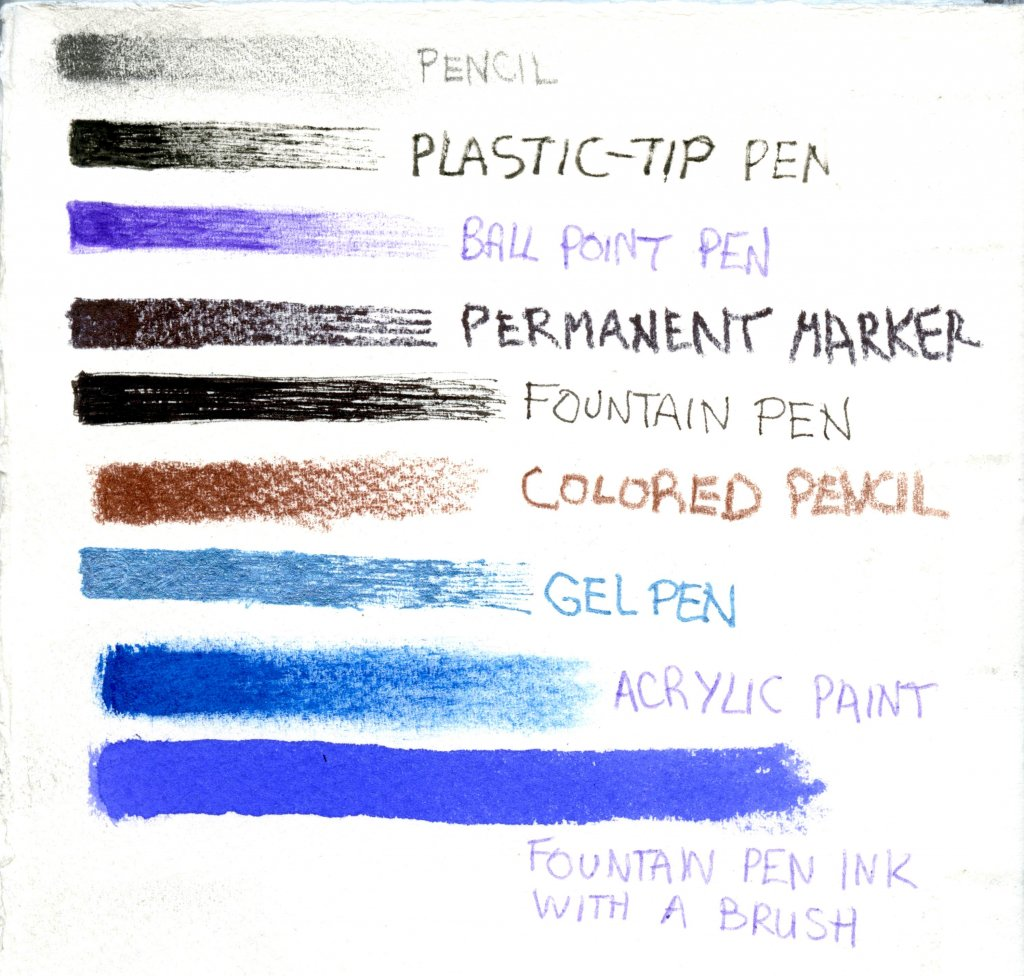 Examples of various mediums on watercolor coldpress paper