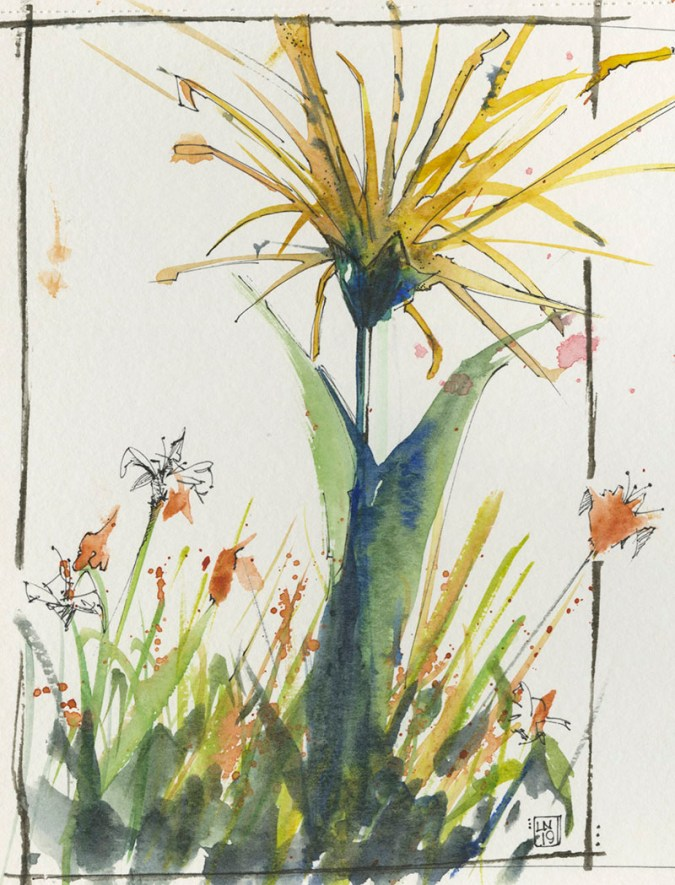 yellow sculpture flower watercolor by Lori Nass