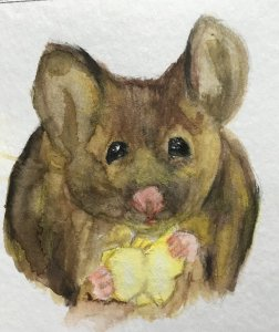 Dec. 18 watercolor (days 14 & 15 mouse & popcorn) 367906DC-0717-4792-BA9C-DEA7C1445E70
