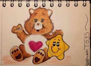 For the prompt Toys, I did one of my favourite toys from the 80's. Care Bears. Christmas was a tim