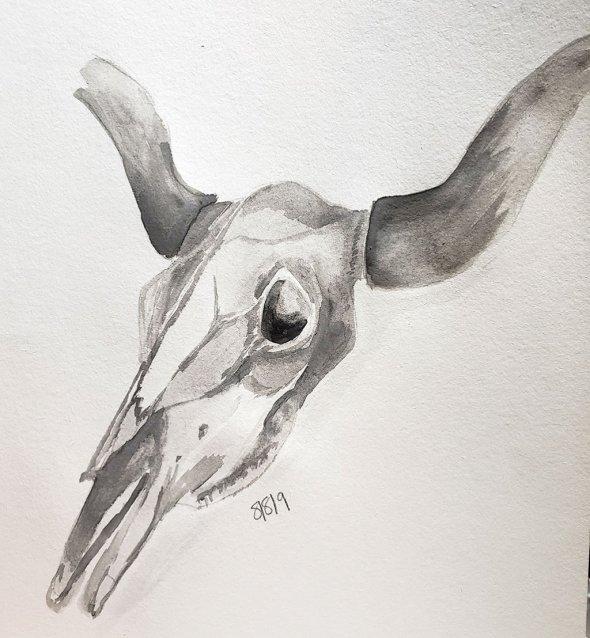Animal Bones Monochromatic Watercolor