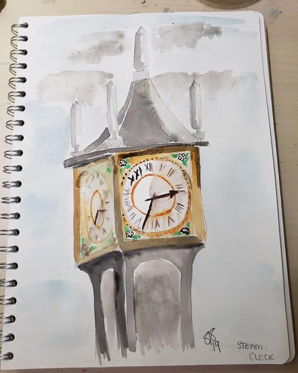 Clock Tower Watercolor by Shanyn Silinski