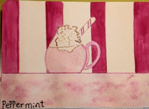 My pink mug of peppermint hot chocolate. This is my peppermint doodlewash prompt. I love mugs of stu