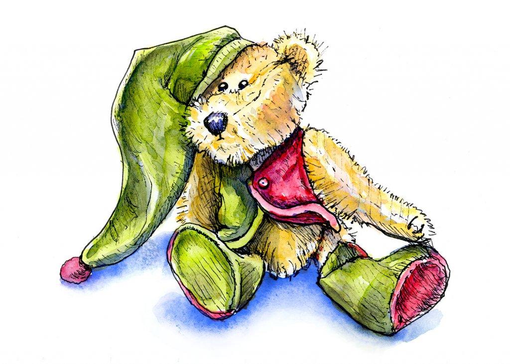 Vintage Teddy Bear Watercolor Illustration