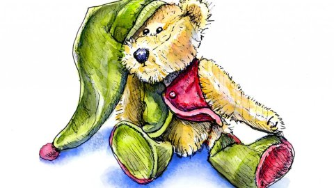 Vintage Teddy Bear Watercolor Illustration