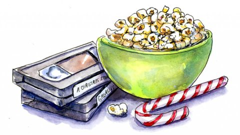 Christmas Movies VHS Tapes Popcorn Watercolor Illustration