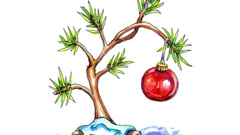 Charlie Brown Christmas Tree Watercolor Painting