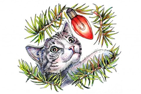 Cat In Christmas Tree Lights Watercolor Illustration
