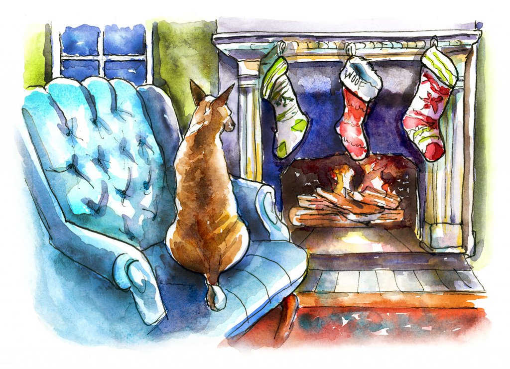 Dog In Front Of FIreplace Christmas Stockings Watercolor Painting