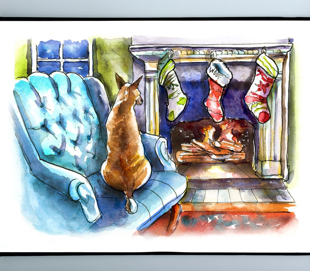 Dog In Front Of FIreplace Christmas Stockings Watercolor Painting Sketchbook Detail