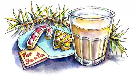 Santa Cookies Milk Night Before Christmas Watercolor Painting