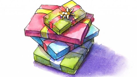 Christmas Gifts Watercolor Painting Illustration