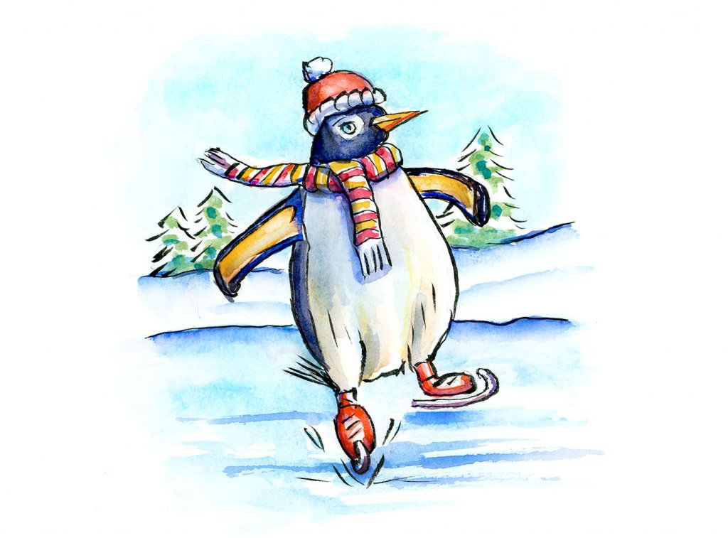 Penguin Ice Skating Watercolor Illustration