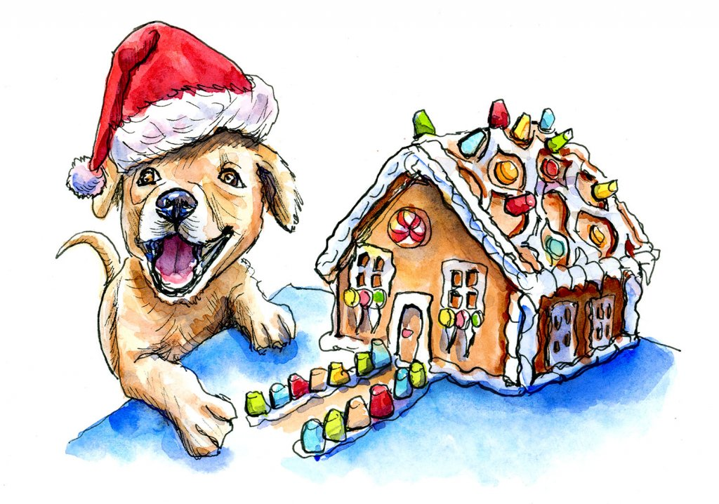 Puppy Santa Hat Gingerbread House Watercolor Illustration