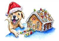 Puppy Santa Hat Gingerbread House Watercolor Illustration