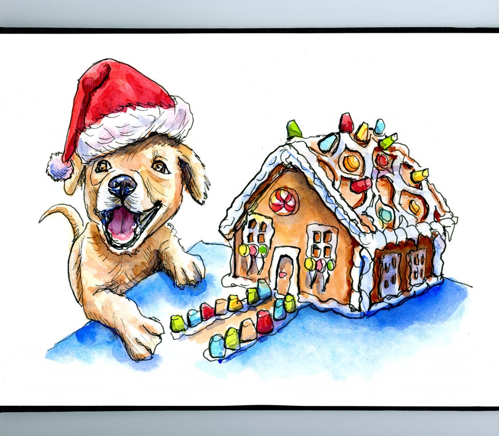Puppy Santa Hat Gingerbread House Watercolor Illustration Sketchbook Illustration