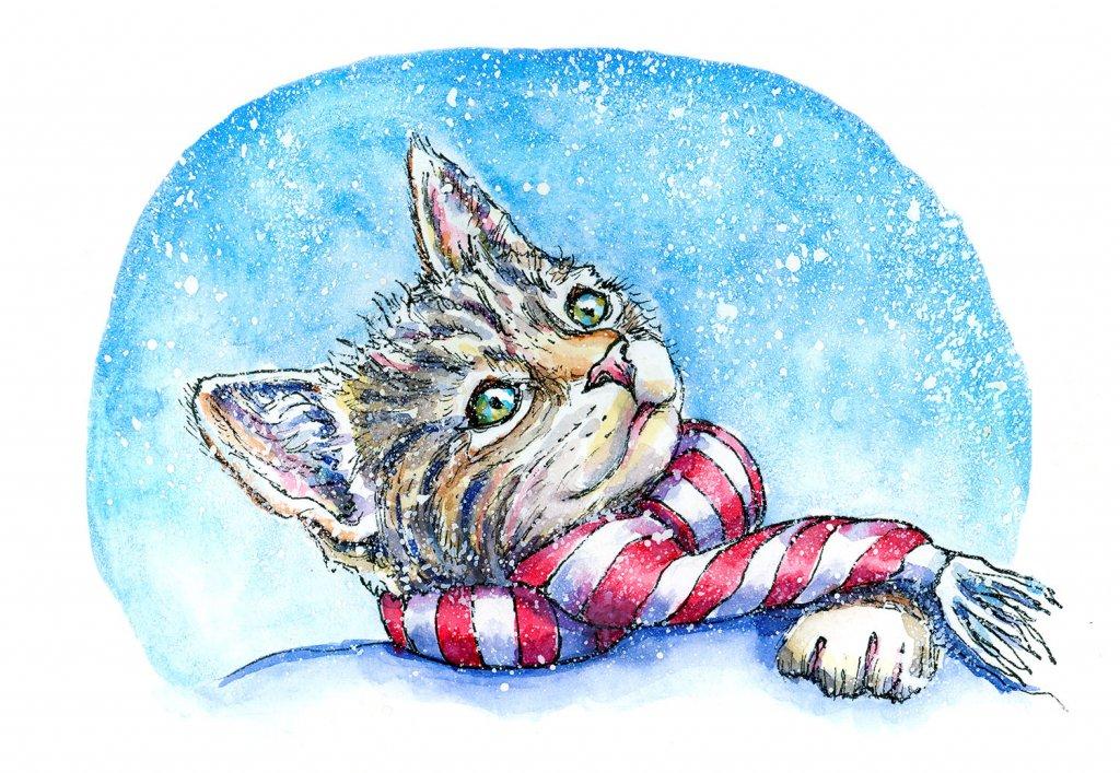 Kitten Cat Wearing Scarf Watercolor Painting
