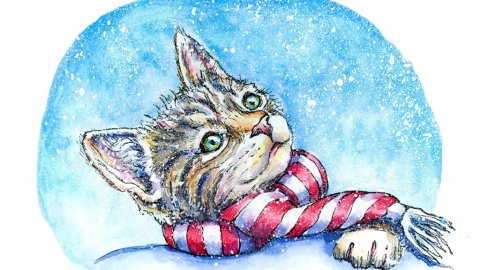 Kitten Cat Wearing Scarf Watercolor Painting