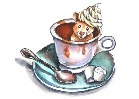 Hot Chocolate Mug Marshmallows Hamster Watercolor Illustration