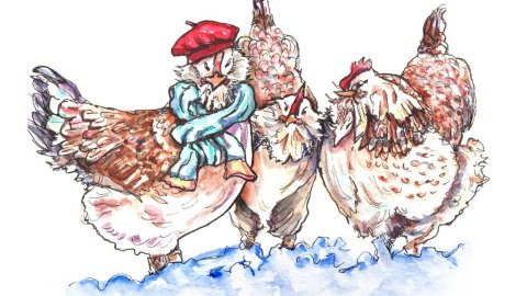 Three French Hens Watercolor Illustration