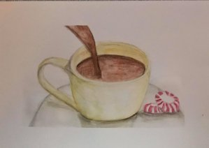 "Dec. 10 watercolor pencils (days 5, 7, 10 & 31 peppermint, candy, chocolate, drinks) ""Prom"
