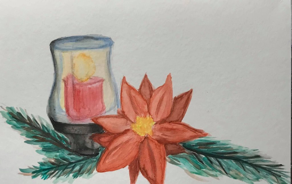 Dec. 16 watercolor (days 12 & 18 poinsettias & candles) Getting behind and rushed! Busy Busy