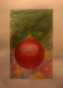 Dec. 4 (watercolor crayons – days 2 & 21 lights & ornament) Faber Castell Gelatos (wat
