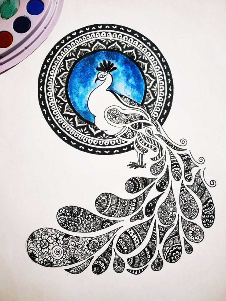 Doodle art on peacock ✍️🎨 #traced_kol #traced #tracedkol #doodlesoftheworld #d