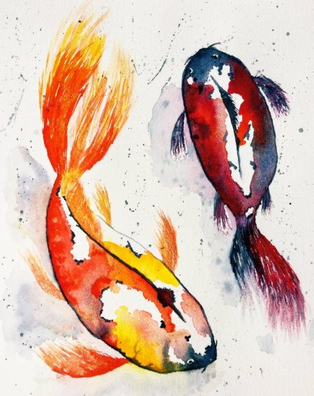 Koi Fish with Dr Ph Martin's Liquid Watercolors