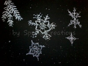 Metallic watercolor snowflakes. I so love how the metallics show on the black watercolor paper!!! Wa
