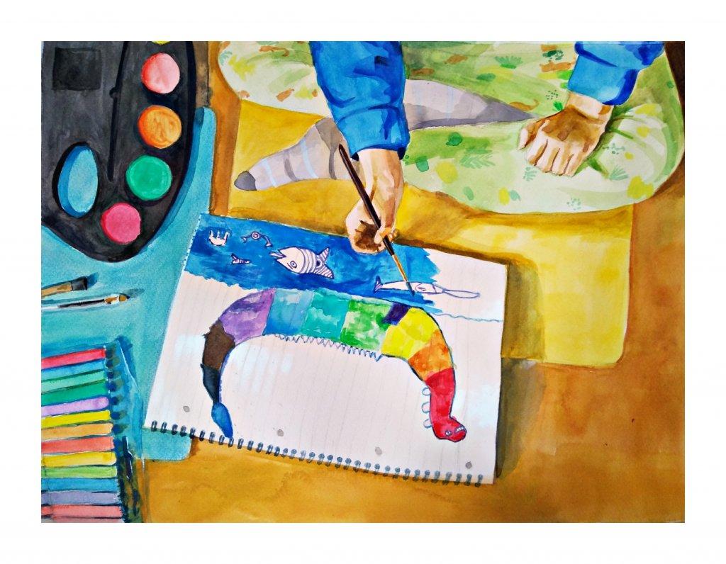 Piece Of Mind Vasundhara Watercolour Painting On Floor