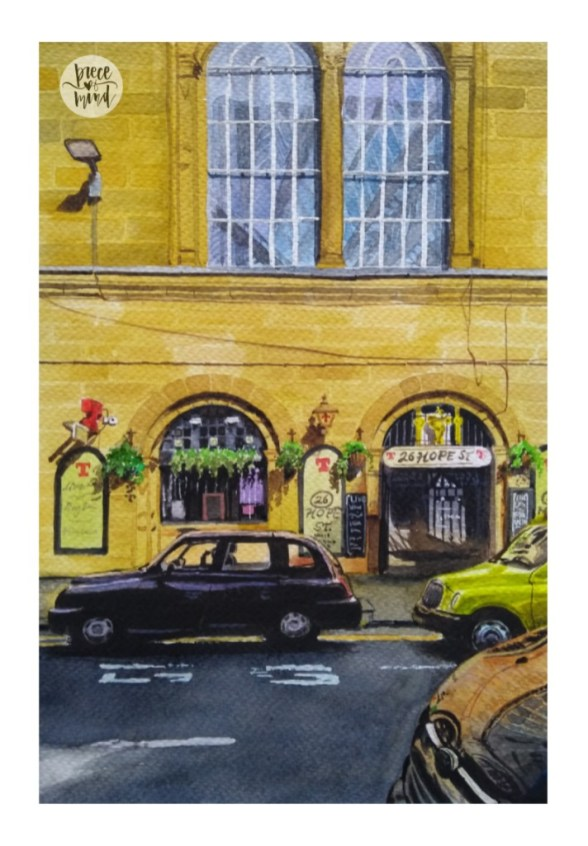 Piece Of Mind Vasundhara Watercolour building and cars Scotland