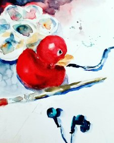 Rubber Duckie Watercolor Painting by Milena Guberinic