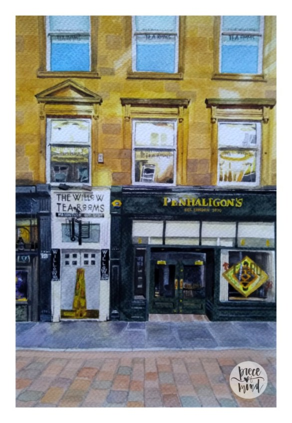 Shop In Glasgow Watercolour Painting