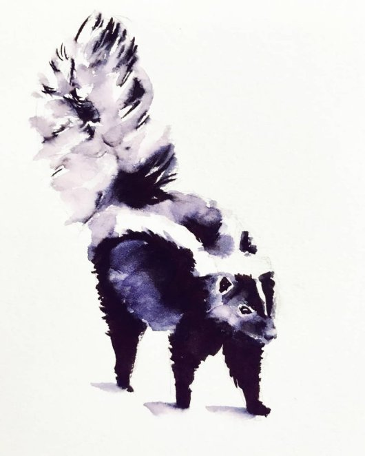 Skunk Watercolor Painting by Milena Guberinic