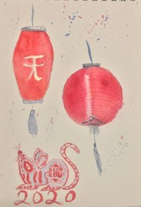 """Day 25 Prompt """" Something Red"""" in honour of the Lunar New Year 19*28cm watercolour and ink on Sa"""