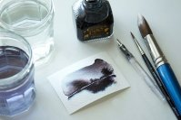 Create simple landscapes using fountain pen ink and water watercolor wash tutorial Final image