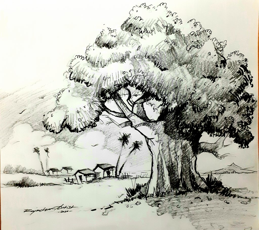 Pencil drawing after long time… #rajmohanartist 20200121_232954